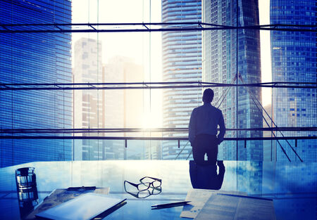 thinking: City Scape Businessman Thinking Concepts Stock Photo