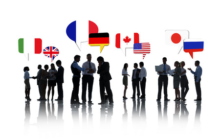 Group Of International Business People Talking About Euros In A White Background photo