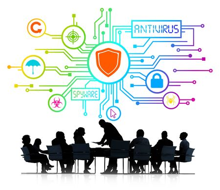 antivirus: Silhouettes of Business People and Antivirus Concept Stock Photo
