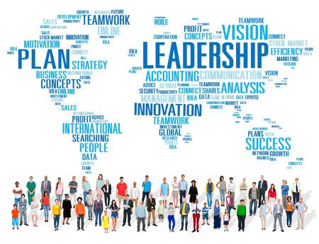 liderazgo: Liderazgo Jefe de Gesti�n Entrenador Jefe Global Concept Foto de archivo