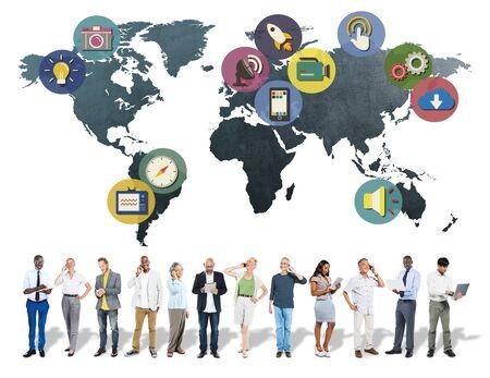 asian man laptop: Global Media Social Media International Connection Concept