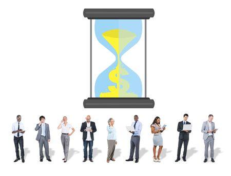 businessman waiting call: Time Sand Glass Hour Glass Finance Saving Concept