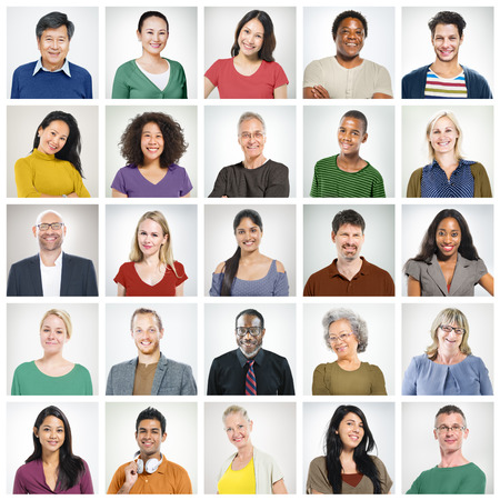 People Diversity Faces Human Face Portrait Community Concept Banco de Imagens