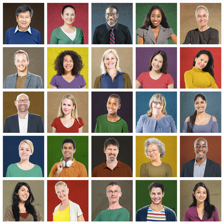 headshot: Diverse People Multi Ethnic Variation Casual Concept