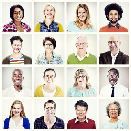 headshot: Protrait of Group Diversity People Community Happiness Concept Stock Photo