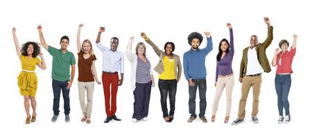 community work: People Celebration Success Multiethnic Group Diversity Community Concept Stock Photo