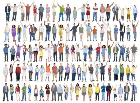 Menschen Verschiedenartigkeit Erfolg Feiern Glücklichsein Gemeinschaft Crowd-Konzept Standard-Bild - 38521788