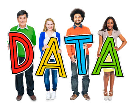 metadata: Group of Diverse People Holding Word Data Stock Photo