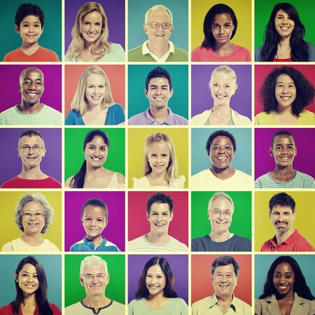 mixed age: Protrait of Group Diversity People Community Happiness Concept Stock Photo