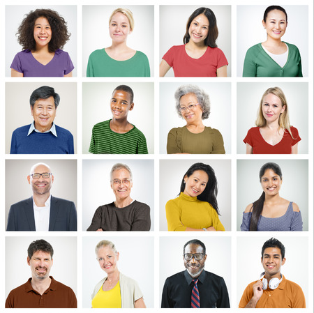 visage homme: Les gens la diversit� des visages humains Portrait Face Communaut� Concept Banque d'images