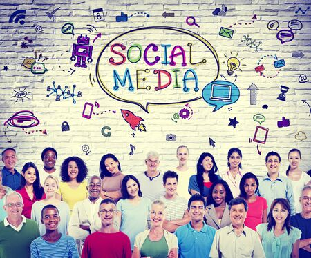 immagination: Social Media Communications Diversity Group Technology Concept Stock Photo
