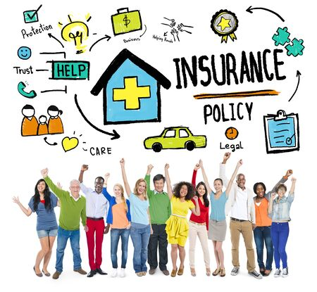 insurance policy: Diversity Casual People Insurance Policy Celebration Concept Stock Photo
