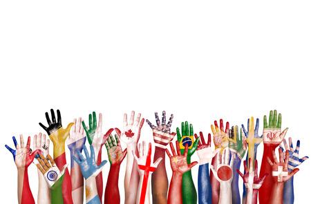 diversidad: Manos bandera del s�mbolo de la diversidad �tnica diversa Etnia Unidad Concepto