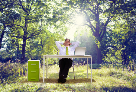 Relaxing Business Working Outdoor Green Nature Concept photo