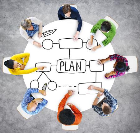 planeaci�n estrategica: Ideas Plan de Cooperaci�n Popular Visi�n Desarrollo de la Gu�a Strategetic Foto de archivo