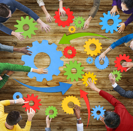 gear cog: Aerial View People Gear Cog Connection Working Concepts Stock Photo