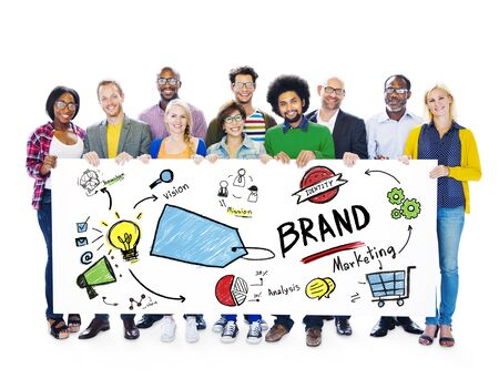 Diverse People Banner Marketing Brand Concept photo