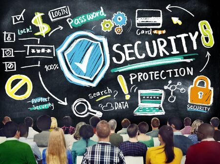 firewall protection: Diversity People Security Protection Seminar Studying Concept Stock Photo