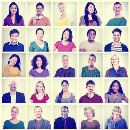 얼굴 컬렉션 다양성 개념의 인간의 얼굴 설정