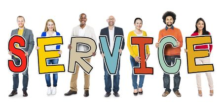 mixed age: Diverse Group of People Holding Text Service Stock Photo