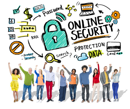 online security: Online Security Protection Internet Safety People Success Concept Stock Photo