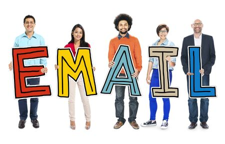 multiethnic: Multiethnic Group of People Holding Letter with Email Concept