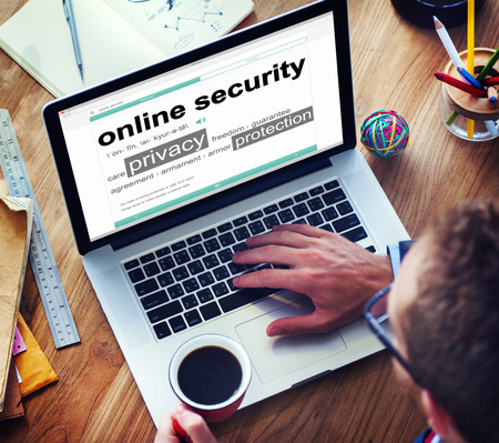 security protection: Digital Online Security Protection Searching Concept