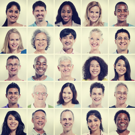 woman face close up: Protrait of Group Diversity People Community Happiness Concept Stock Photo