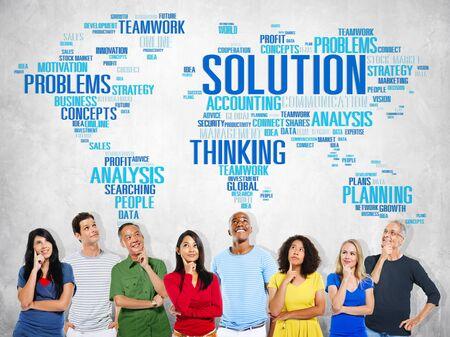 pensamiento creativo: Soluci�n Resolver Problema Estrategia Visi�n Decisi�n Concept Foto de archivo