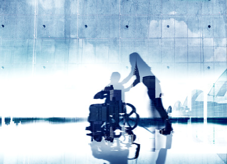 eldercare: Eldercare City Life Disabled Support Help Healthcare Concept