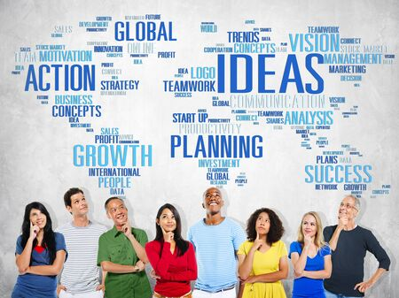 global thinking: Global People Planning Thinking Creativity Ideas Concept
