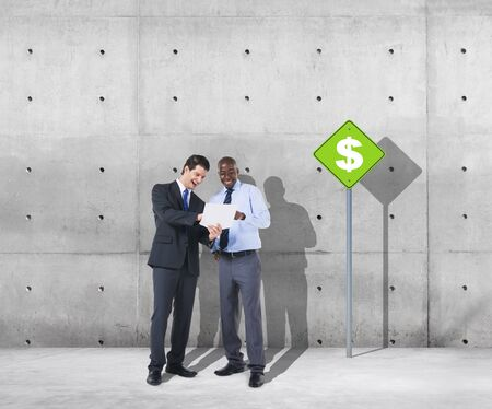 financial issues: Businessmen Discussion Dollar Financial Issues Business Concept Stock Photo