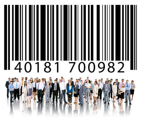 bar code reader: Bar Code Identity Marketing Data Encryption Concept