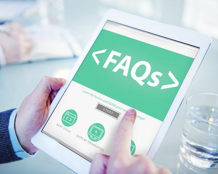faq's: Digital Online FAQs Community Office Working Concept Stock Photo