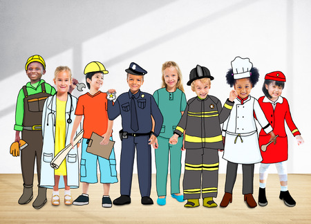 elementary age: Children Kids Dream Jobs Diversity Occupations Concept Stock Photo
