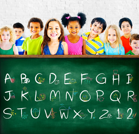 blackboard: English Alphabet Letters Number Education Concept