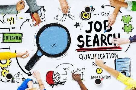 job search: Diversity Hands Searching Job Search Opportunity Concept