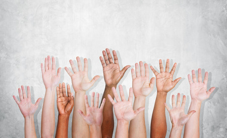 hands raised: Hands Diverse Diversity Ethnic Ethnicity Variation Unity Concept
