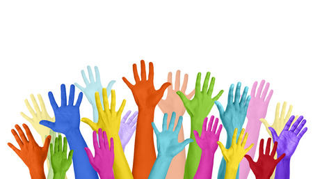 expressing: Multicolored Arms Outstretched Copy Space Expressing Positivity Concept Stock Photo