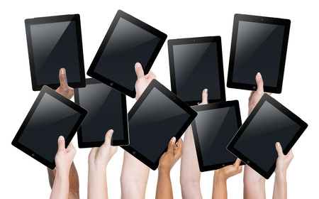 Hands Digital Device Tablet Touch Screen Holding Internet Concept