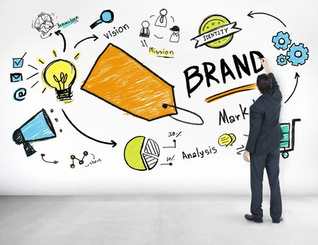 advertising idea: Businessman Writing Planning Marketing Brand Concept