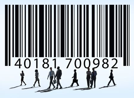Ordinal: business professionals with bar code concept