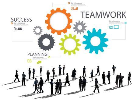 Teamwork Team Group Gear Partnership Cooperation Concept photo