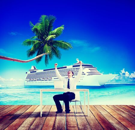 business travel: Businessman Business Travel Beach Working Success Concept Stock Photo