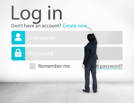 security protection: Business Man Account LogIn Security Protection Concept Stock Photo