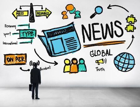 article of clothing: News Journalism Information Publication Update Media Advertisment Concept Stock Photo