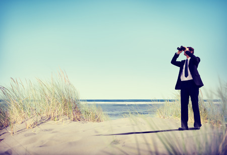 Businessman Looking Searching Opportunity Forward Vision Concept photo