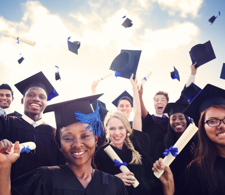 diverse teens: Celebration Education Graduation Student Success Learning Concept