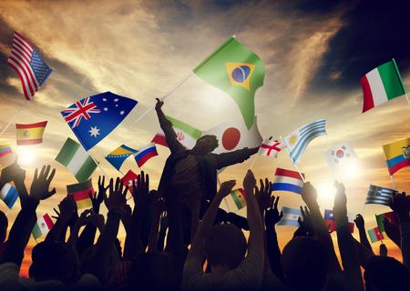 국제 플래그 공생 유니티 변화 다양성 인종 개념