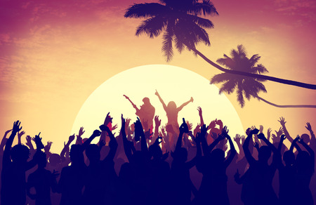 guy on beach: Beach Summer Music Concert Outdoors Recreational Pursuit Concept Stock Photo